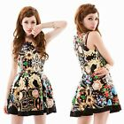 Fashion Sexy Luxury Jewelry Print Sleeveless Women's Pleated A Line Mini Dress