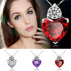 Women Fashion Love Heart Crystal Rhinestone Chain Pendant Necklace Jewelry Gift