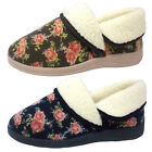 Dunlop Faye Womens Slippers Ladies Floral Print Faux Fur Lined Slip On Shoes