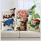 Vintage Linen Cotton Couch Sofa Cushion Cover Throw Pillow - Peony 45X45 cm