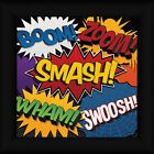Smash Lauren Rader 12x12 Comic Book Words Boom Zoom Wham Framed Art Print