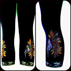 Regular One Size Capri Length Leggings Embellished Rhinestone Xmas Bird Floral