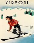 Ski Vermont Fashion Lady Mountains Skiing Race 16 X 20 Vintage Poster FREE S/H