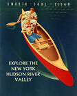 New York Hudson River Couple Canoe Explore Valley 16X20 Vintage Poster FREE S H