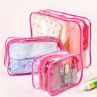 PVC Clear Pouch Travel Bathing Toiletry Zipper Cosmetic Bag Rose Red With 3 Size