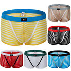 New Sexy Mens See-Through Stripe Underwear Boxer briefs Pants Shorts Lingerie