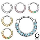 New Surgical Steel Single Line CZ Gem Round Nose Septum Clicker Ring 16g 14g