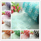 "5/120yd 6"" Flower Crystal Printing Organza Roll Sheer Fabric Party Wedding"