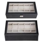 6 10 12 20 24 Watch Display Case Wooden Glass Top Jewelry Storage Organizer Box