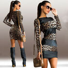 PU Leather Sexy Women Clubwear Patchwork Black Leopard Bodycon Mini Party Dress
