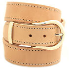 "1 1/2"" Natural Tan Harness Leather Belt Decorative Stitching Buckle Set"