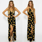 New Womens Ladies Boho Sexy Summer Beach Evening Party Long Maxi Sunflower Dress