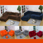 1 2 3 Seater Plush Stretch Elastic Fitted L-shped Sofa Corner Couch Slip Covers