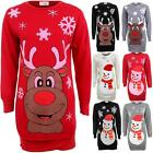 Ladies Christmas Rudolf Reindeer Snowman Fleece Top Women's Sweatshirt Dress