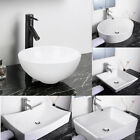Aquaterior White Porcelain Ceramic Bathroom Vessel Sink Basin w/ Pop Up Drain