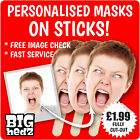 PERSONALISED FACE MASKS *ON STICKS* Life-size Party Stag Do Hen Night Sash FAST