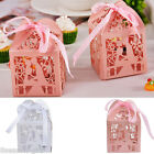 12PCs Foldable Paper Cake Package Boxes Hollow Ribbon Valentine Wedding