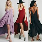 Double Layer V-neck Backless Women's Summer Beach Lounge High Low Dress Dipped