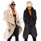 Women's Waterfall Deep V-neck Belted Long Sleeve Jacket Trench Coat Windbreaker