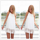 Women Girl's Casual Sexy Tassels Cocktail Party Evening Beach Party Mini Dress