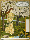 "EUGENE GRASSET ""April"" blossom daffodil dress one woman colour french text NEW"