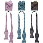 BMC Mens 6 pc Mixed Design Self Tie Bowtie Pocket Square Suit Accessories