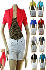 9 Color Basic CROP Ruched Short Sleeve BOLERO Stretch Cotton Casual CARDIGAN Top