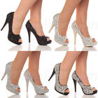WOMENS LADIES HIGH HEEL CRYSTALLISED PARTY PLATFORM PEEP TOE SHOES SANDALS SIZE