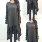 Plus Size Women Casual Irregular Hem Knit Dress Lady Loose Long Jumper Pullover