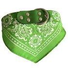 Adjustable Pet Dog Puppy Cat Neck Scarf Bandana with Leather Collar Neckerchief
