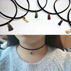 Fashion Neck Band Necklace Tassel Pendant Black Velvet Faux Suede Choker
