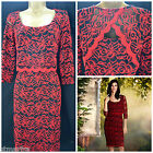 NEW PER UNA LAYERED LACE DRESS SHIFT RED BLACK VTG FLORAL OCCASION SIZE 8 - 18