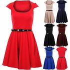 Women's Skater Belted Flare Cap Sleeve Ladies Party Casual Tea Dress UK 8-14