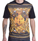 Ecko Unltd. Men's Gold Chainy Black Crew Neck Tee Shirt