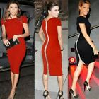 Women Boat Neck Ruffled Sleeve Wiggle Pencil Dress Zipper New UK Local Postage