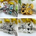 5x Gold/silver Plated Flower Crystal European Hole Loose Bead Fit Charm Bracelet