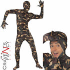 Adult Camouflage Skin Body Suit Mens Army Fancy Dress Costume New