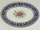 "13 "" OVAL SERVING PLATTER Wedgwood FLORENTINE BLUE W1079 floral center"