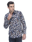 VIP Collection| Men's Long Sleeve Dress Shirt in Navy Blue with Multi Turquoise