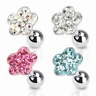 Tragus Ohr Helix Cartilage Barbell Piercing Stecker Multi Kristall Blume