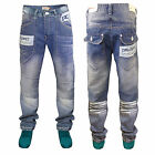 Mens Jeans Bexley Rawcraft New Designer Faded Wash Loose Fit Blue Denim Trousers