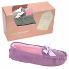 Womens Dunlop Moccasin Slippers Gift Box Ladies Memory Foam Fleece Lined Shoes