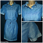 NEW M&S MARKS & SPENCER SHIRT DRESS TUNIC SHIFT CHAMBRAY DENIM BLUE SIZE 6 - 22