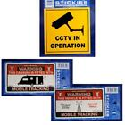 Choice of 3 Warning Stickers Labels CCTV Sign, Caravan Vehicle Car Tracking