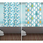 New Designer Ring Top Hookless Shower Curtains - Blue - Polyester Fabric