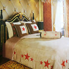 Western Luxury Embroidery Lone Red Star Comforter Micro Suede 7 Pc Bedding Set image