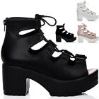 WOMENS LACE UP CLEATED SOLE BLOCK HEEL SANDALS SHOES SZ 3-8