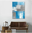 Abstract Colour Stretched Canvas Prints Framed Wall Art Decor Painting Blue Gray