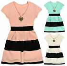 Girls Stripe Dress New Kids Short Sleeved Dresses With Necklace Ages 2-12 Years
