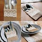 New Hessian Burlap Lace Cutlery Holder Pouch Bag Holder Rustic Wedding Favor